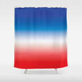 Red White and Blue Ombre Gradient Shower Curtain
