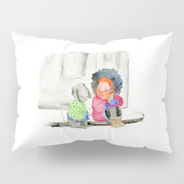 Girl and her dog | Watercolor illustration Pillow Sham