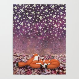 foxes under the stars Poster