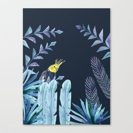 Cockatiel with tropical leaves and dark blue background Canvas Print