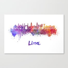 Lima skyline in watercolor Canvas Print