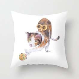 Toy cat with ball Throw Pillow