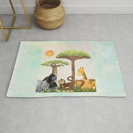 Watercolor Safari Animals Under Exotic Baobab Tree Rug