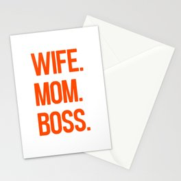 wife mom boss Stationery Cards