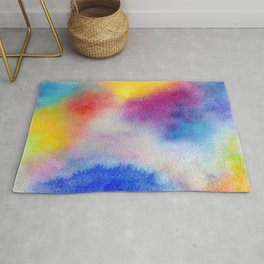 Abstract Watercolor Minimalist Rainbow - Fauve Rug