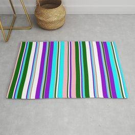 Eye-catching Dark Violet, Cyan, Light Pink, Dark Green, and White Colored Lined Pattern Rug