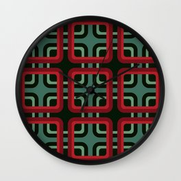 Geometric Pattern #69 (red & turquoise 1970s) Wall Clock