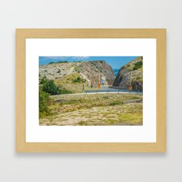 Landscape with mountain and road in Krk island, Croatia Framed Art Print