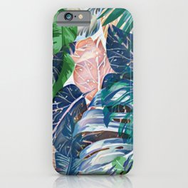 Tropical forest blue pink green beige tropical leaves iPhone Case
