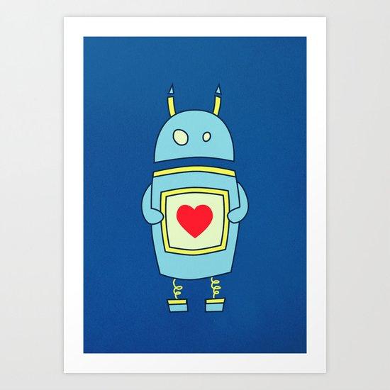 Blue Cartoon Robot With Heart Art Print