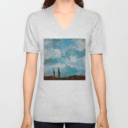 Cypress Trees encaustic wax painting by Seasons Kaz Sparks Unisex V-Neck