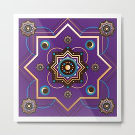 Moroccan Gold and Purple Pattern Metal Print