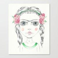frida kahlo Canvas Prints featuring frida kahlo by Lisa Bulpin