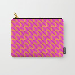 Pattern of pink squares and orange triangles in a zigzag. Carry-All Pouch