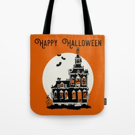 Vintage Style Haunted House - Happy Halloween Tote Bag