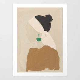 Minimalist Woman with Green Earring Art Print