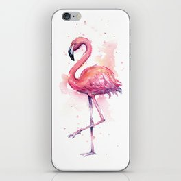 Pink Flamingo Watercolor Tropical Bird iPhone Skin