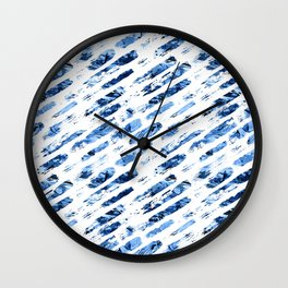 Watercolor blue brush rain Wall Clock