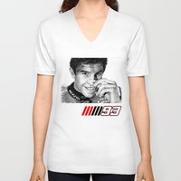marc V-neck T-shirts featuring The champ Marc Marquez by Mike Sarda