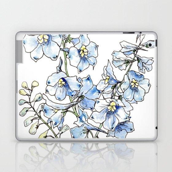 Blue Delphinium Flowers Laptop & iPad Skin