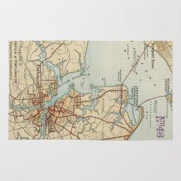 Vintage Map of Norfolk and Portsmouth VA (1919) Rug