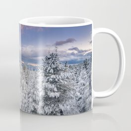 """Mountain light"". Snowy forest at sunset Coffee Mug"