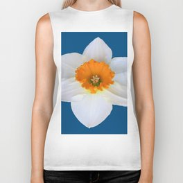 DECORATIVE ORANGE CENTERED WHITE DAFFODIL TEAL ART Biker Tank