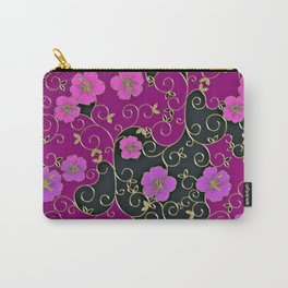 Gold Metallic, Purple Floral on Black Carry-All Pouch