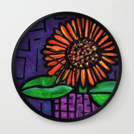 Purple Potted Gerbera Daisy Wall Clock