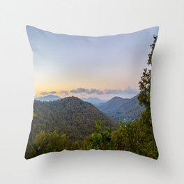 Sleepy valley town Throw Pillow