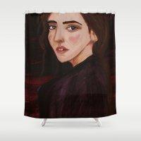 emma watson Shower Curtains featuring Emma by Lupe Jimenez