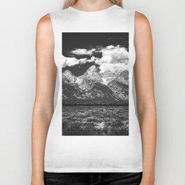 Mountain Summer Escape - Black and White Tetons Biker Tank
