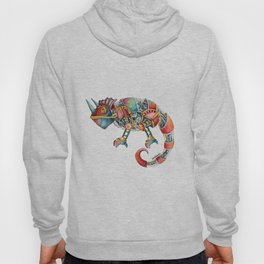 Steampunk Chameleon Watercolour Painting Hoody