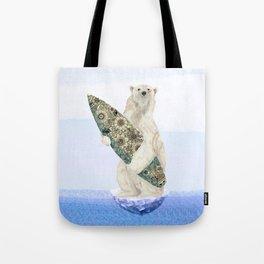 Polar bear & Surf (black) Tote Bag