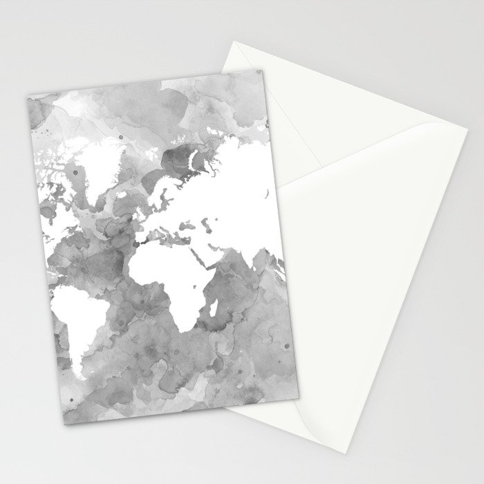Design 49 grayscale world map stationery cards by artbylucie society6 design 49 grayscale world map stationery cards gumiabroncs Image collections