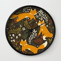 fox Wall Clocks featuring Fox Tales by Anna Deegan