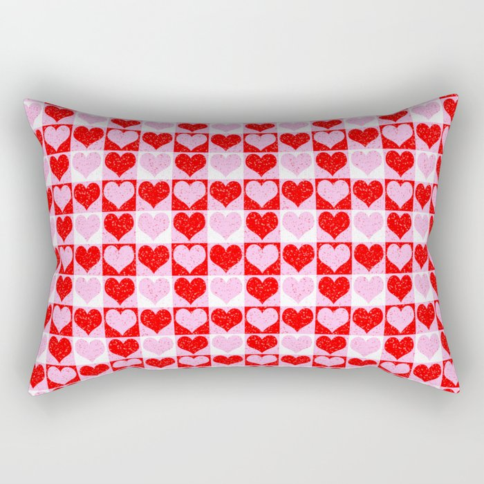 Love Heart Red Pink and White Check Pattern Rectangular Pillow
