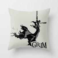grim fandango Throw Pillows featuring GRIM by orlando arocena ~ olo409- Mexifunk