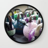 crossfit Wall Clocks featuring Kettlebell Gang by StirlingStudio