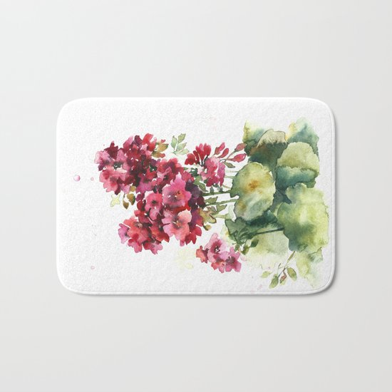 Watercolor geranium flowers Bath Mat