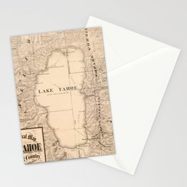 Vintage Map of Lake Tahoe Calfornia (1874) Stationery Cards