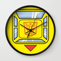 transformers Wall Clocks featuring Transformers - Bumblebee by CaptainLaserBeam