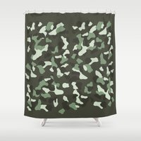 camo Shower Curtains featuring CAMO by Brukk