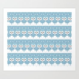 Blue Bunny Rabbit - Super Cute Animals Art Print