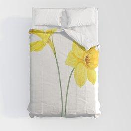two botanical yellow daffodils watercolor Comforters