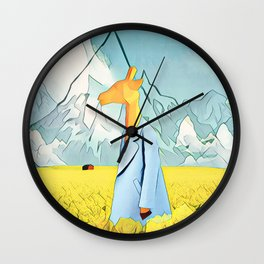 Giraffe in the yellow field of roses Wall Clock