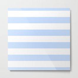 Pale Pastel Powder Blue and White Cabana Stripes Metal Print