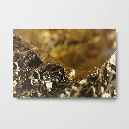 Golden Mountain Landscape Foil Composition Metal Print