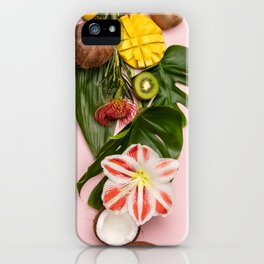 Creative flat lay with tropical fruits and plants on pink background iPhone Case