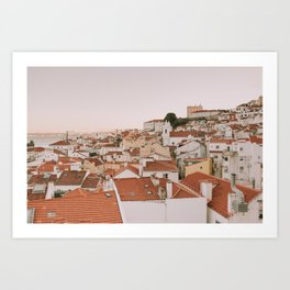 Over the rooftops in Lisbon Art Print